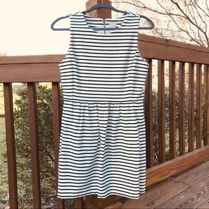 J Crew Black & White Striped Sleeveless Dress
